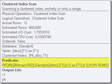 Clustered Index Scan properties